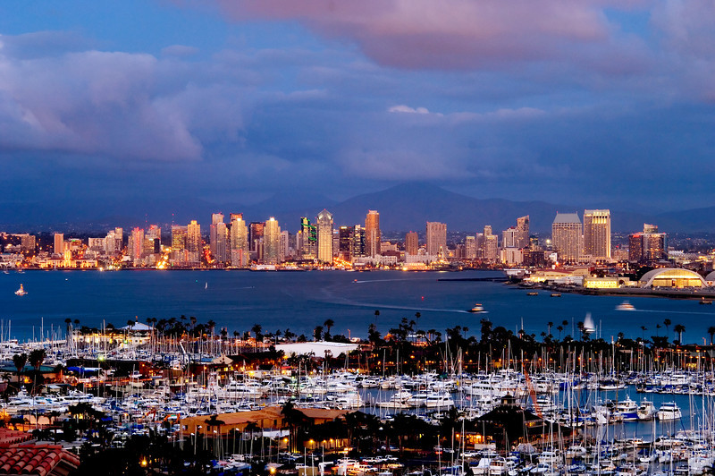 The San Diego skyline is lit up in this evening shot overlooking San Diego Bay from Point Loma.