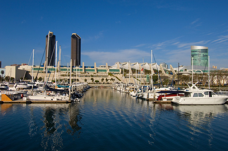 Bayside view of the San Diego Convention Center on a sunny afternoon.