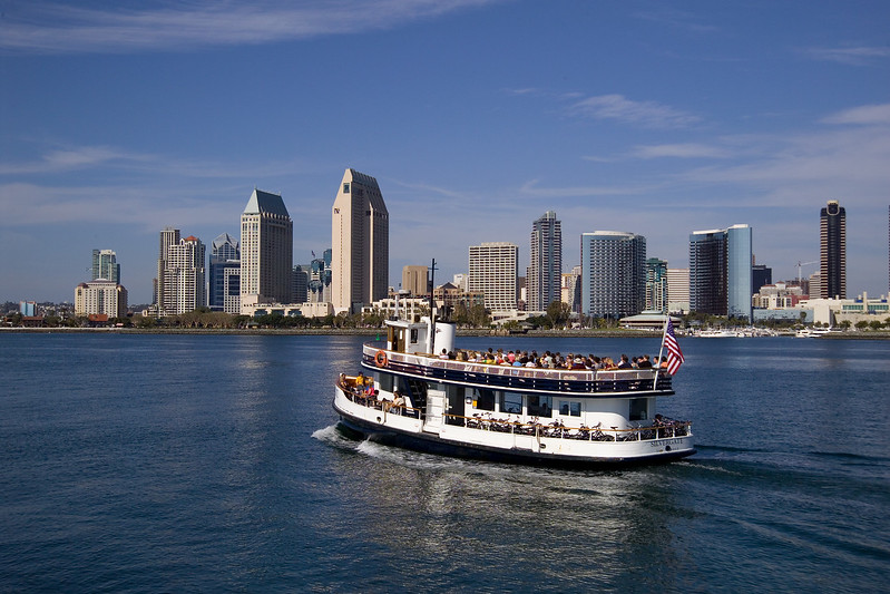 The San Diego Coronado ferry returns across the bay to downtown San Diego.
