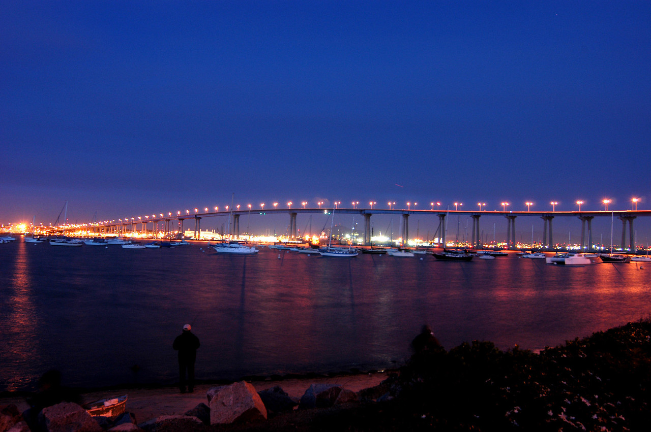 The Coronado Bridge lit up for the night.