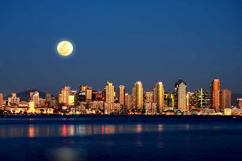 Full Moon rises over the San Diego skyline in this view from Harbor Island on 2.25-2013.
