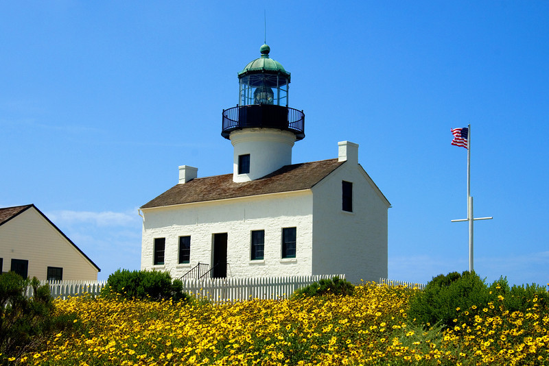 Springtime view of the Old Point Loma Lighthouse.