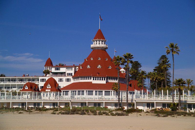 The Hotel Del Coronado, located on the beach in Coronado, California.
