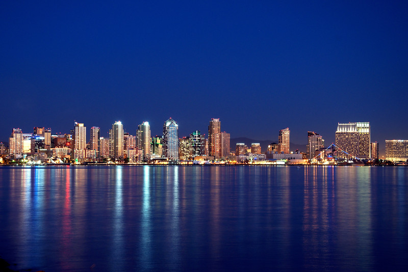 Beautiful evening view of the San Diego skyline from Harbor Island