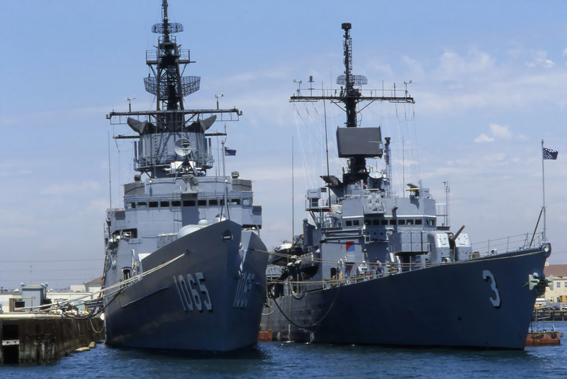US Navy ships at the docks in San Diego, California