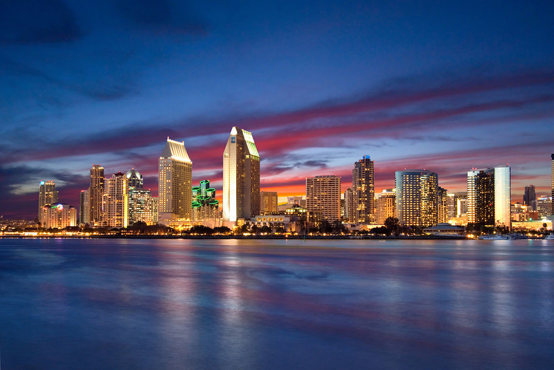 Evening view of San Diego Skyline from the Coronado Ferry Landing.