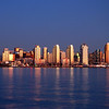 San Diego Skyline dusk  view looking across San Diego Bay from Harbor Island