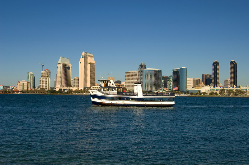 The San Diego to Coronado ferry returning across the bay to San Diego.