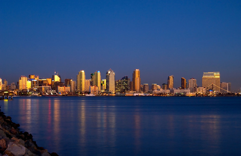 Night view of the San Diego skyline from across the bay.