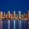 San Diego skyline shines at night in this view from Harbor Island.