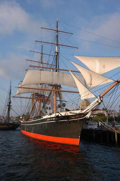 Star of India, historic sailing ship and museum, on the embarcadero in San Diego, California.