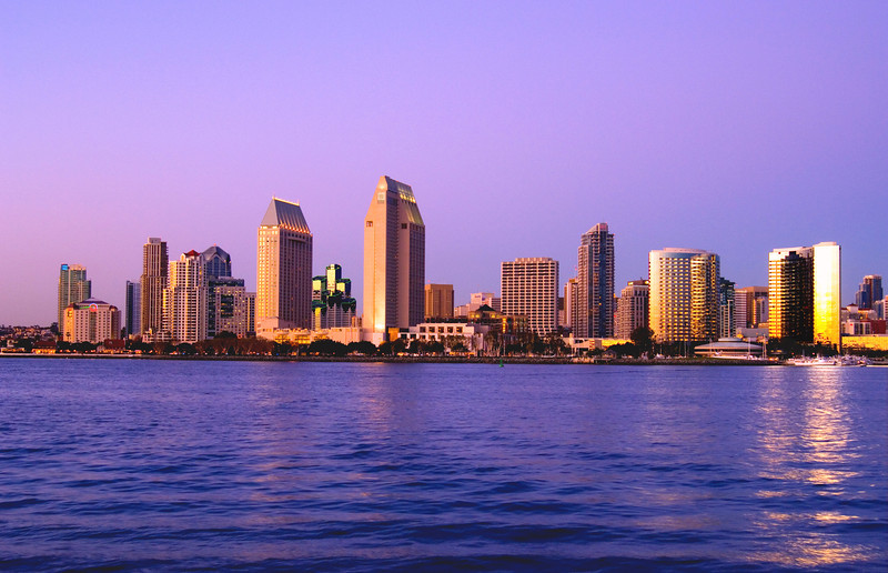 San Diego skyline just after sunset as seen from Coronado.