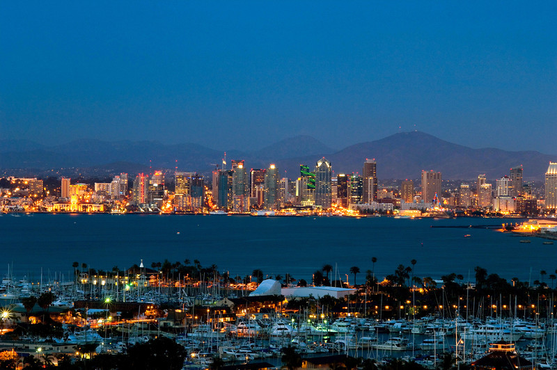 Dusk view of the San Diego skyline as seen from Point Loma.