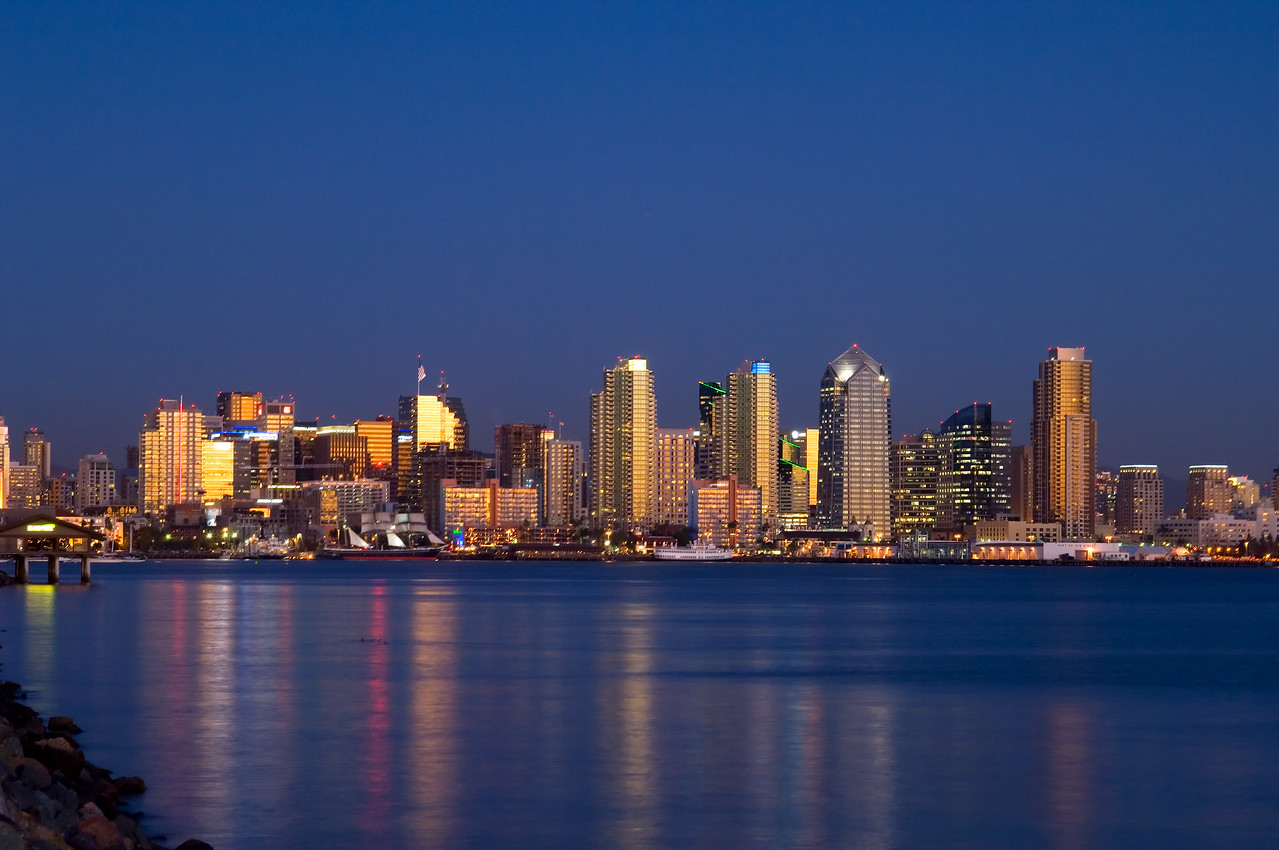 San Diego skyline at dusk viewed from Harbor Island.