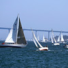 Enjoying a day of sailing in San Diego Bay with the Coronado Bridge in the background.