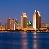 Incredible skyline of San Diego at dusk as seen from across the bay on Coronado.