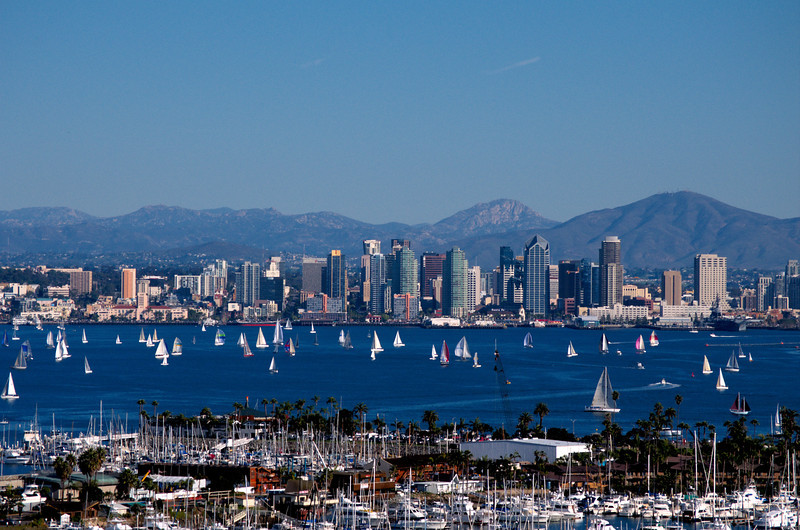 San Diego  bay and skyline with sailboats on a beautiful sunny day.