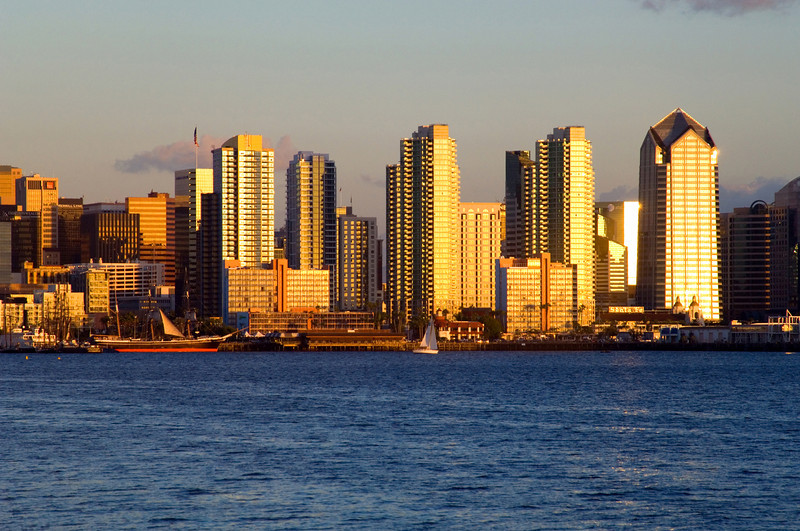 San Diego skyline in the golden glow of late afternoon.