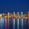 San Diego skyline at night as seen from Harbor Island