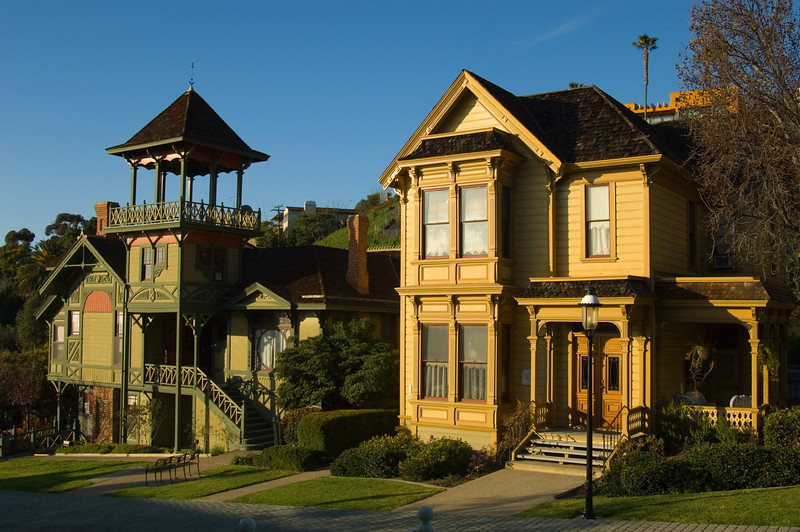 The colorful Heritage Park Victorian houses next to Old Town in San Diego, California.