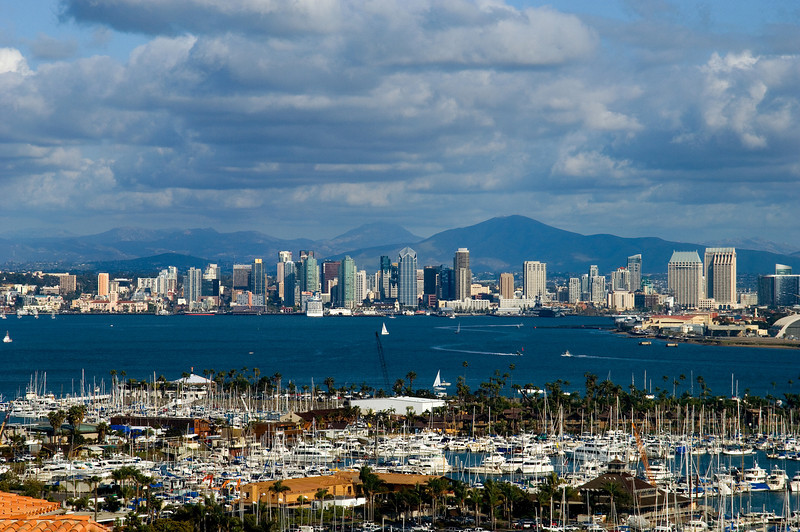View of the San Diego skyline and bay on a beautiful day in March.