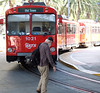 After arriving in San Diego's <i>Santa Fe</I> station we simply had to walk across the street to catch the Orange Line of the Trolley system.