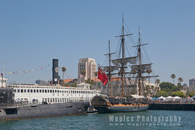 Submarine and 3-Mast Sailing Ship