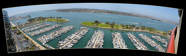 Panoramic view of San Diego Bay from our Marriott Marquis Hotel room.