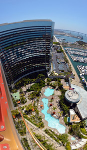 Looking over the rail of the Marriott Marquis Hotel San Diego (from the 24th floor north tower).