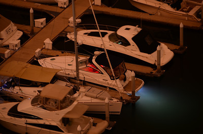 A boat in the Marriott Marquis Marina, San Diego that had a very cool glow under the hull.