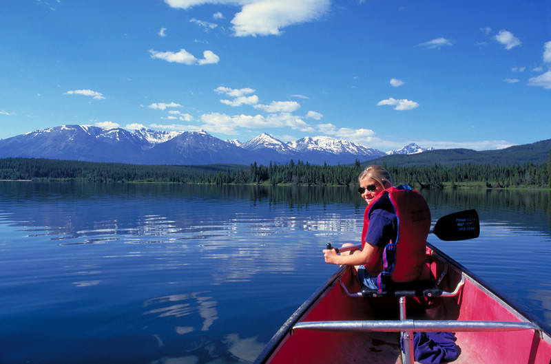 Canoeing in Jasper National Park, in the Canadian Rockies.