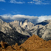 Mt Whitney covered by a blanket of clouds.