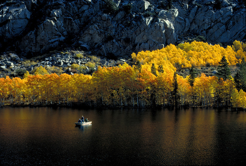 Autumn fishing on Grant Lake, in the Eastern Sierras.