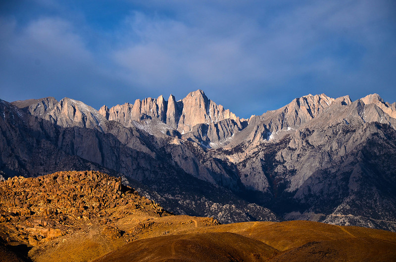 Mt. Whitney stands out above the Alabama Hills on an October morning.