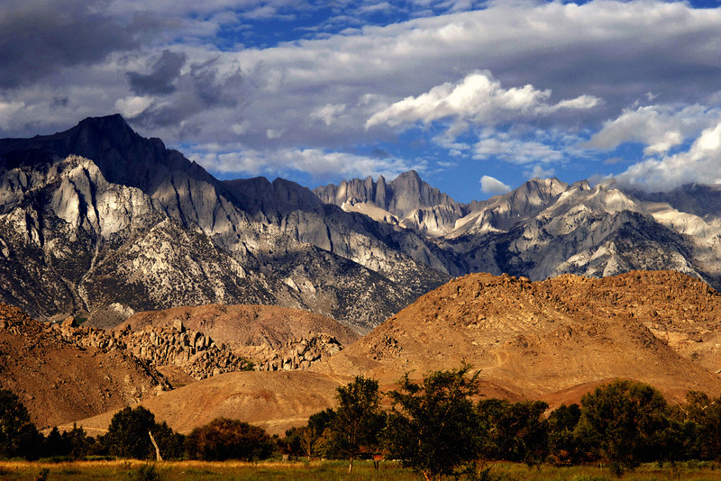 Early morning view of Mt Whitney and the Alabama Hills from Highway 395 in Lone Pine, California.