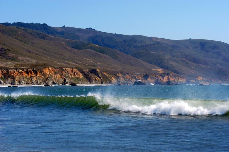 Breaking wave at a Big Sur beach in California.