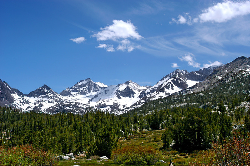 Snowcapped peaks rise above Little Lakes Basin in California's Eastern Sierra.