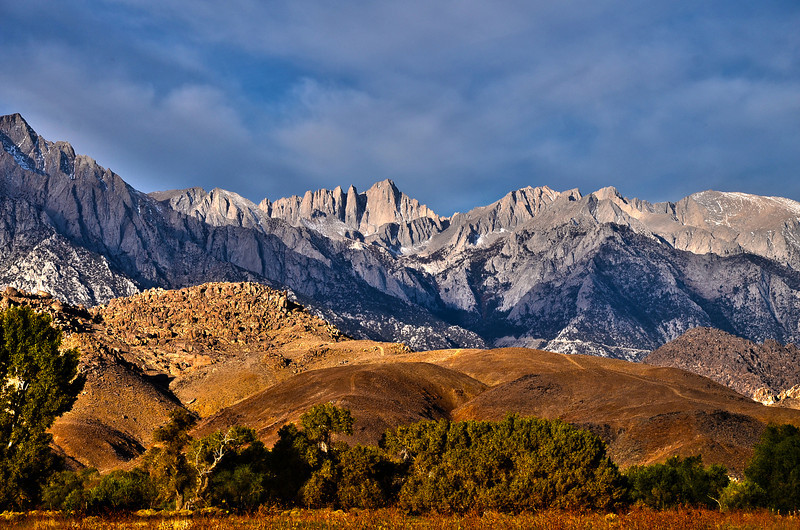 View of Mt Whitney and the Alabama hills on an October  morning.