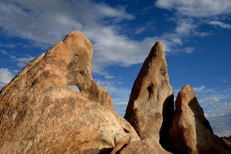Rock formations in the Alabama Hills of California.