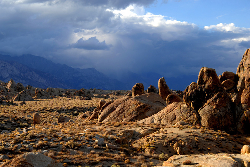 Late afternoon sun on the rocks of the Alabama Hills near Mt Whitney, in California.