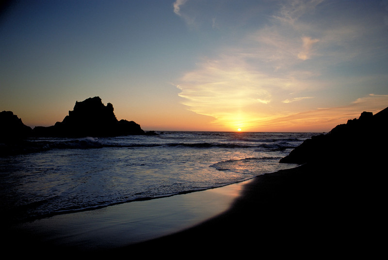 Sunset on the beach at Big Sur, California.