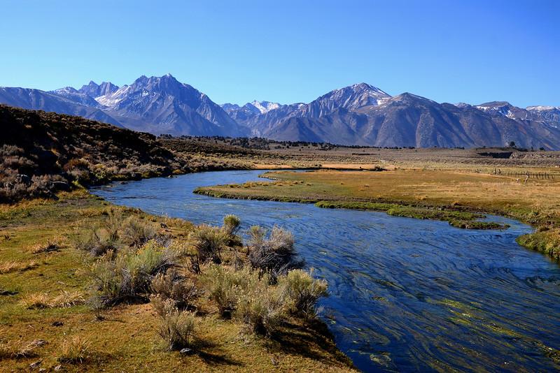 Hot Creek and the Eastern Sierra near Mammoth Lakes, California.