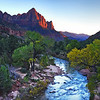 Zion National Park sunset view of the Watchman from the Canyon Bridge