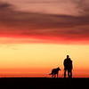 Enjoying a California coastal sunset with man's best friend.