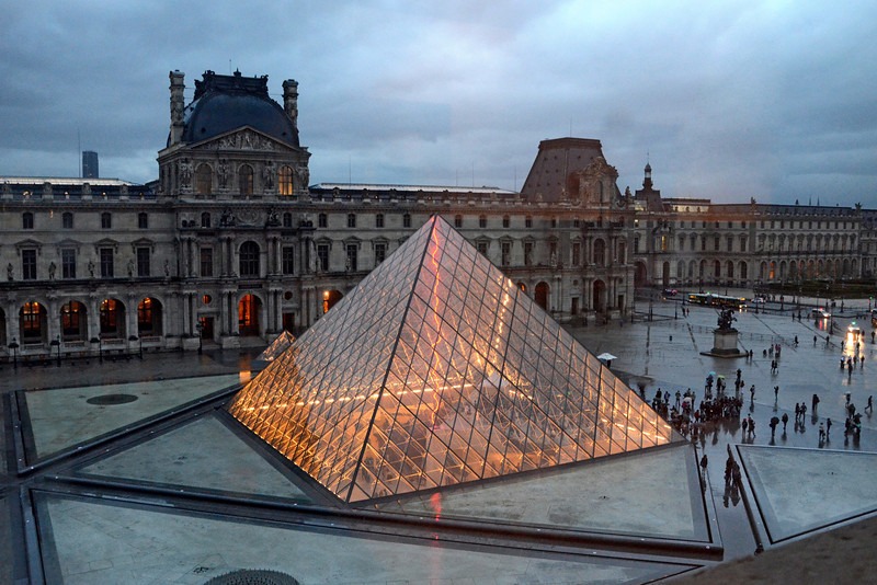 The Louvre Pyramid  lights up at night