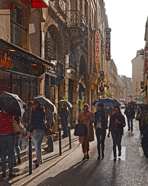 An afternoon shower on the Rue St. Andre des Arts