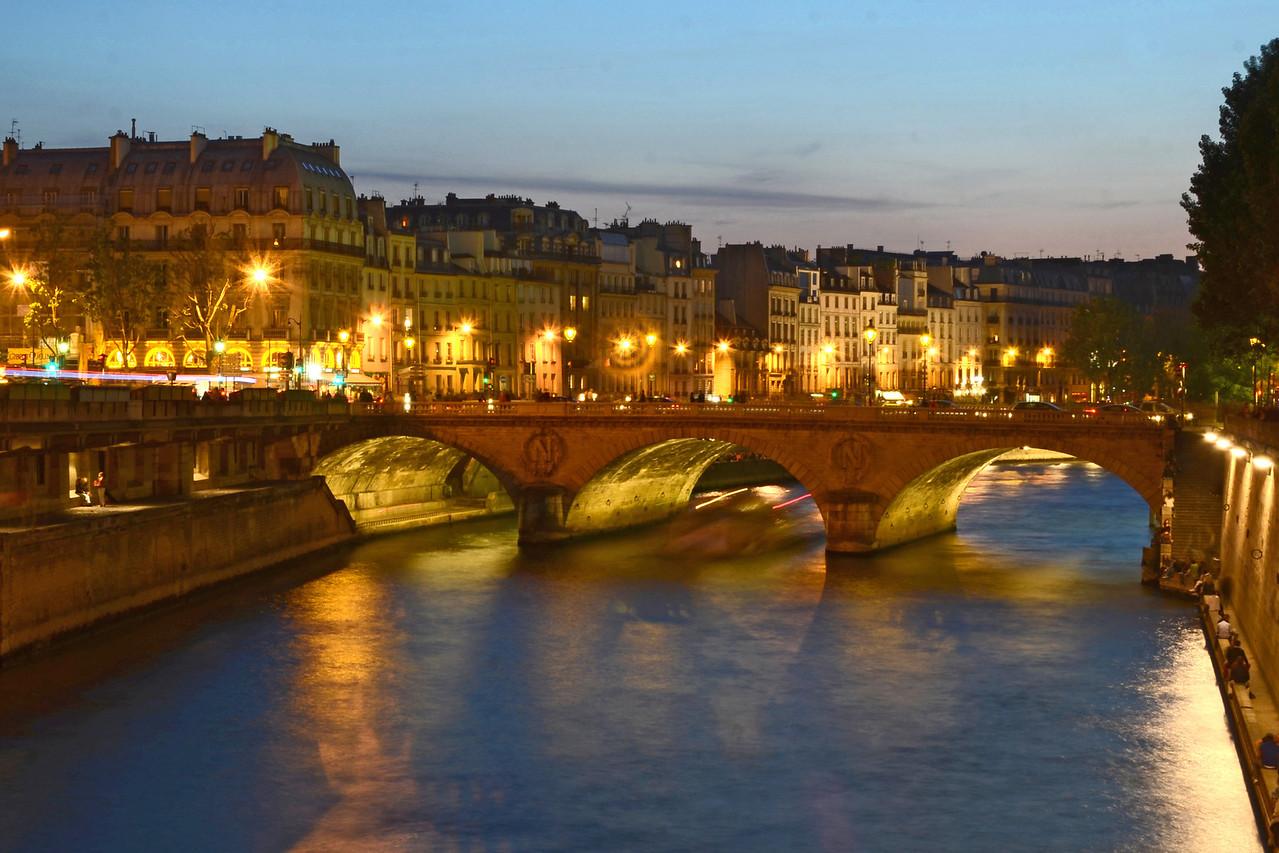 Pont Saint Michel in Paris at night
