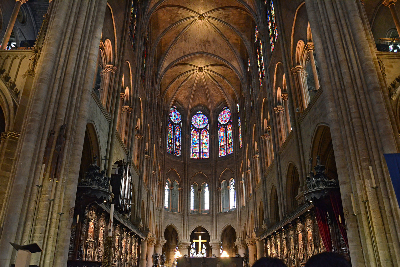 Looking up inside Notre Dame Cathedral
