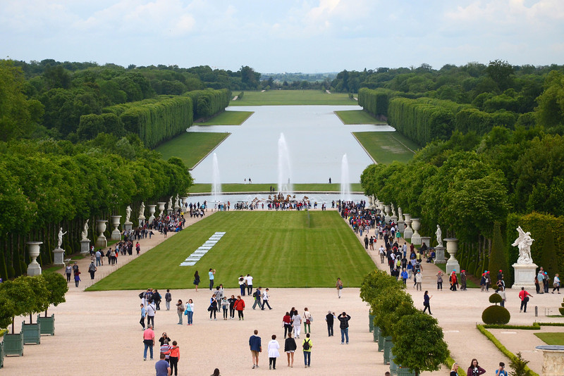 View toward the grand canal in the gardens of Versailles