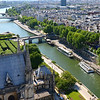 Looking up the Seine River from the tower of Notre Dame